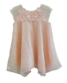 Little Girls Tulle Dress Peach Flowers
