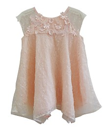 Little Girls Tulle Dress Peach Flowers