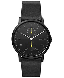 Men's Kristoffer Multifunction Black Leather Strap Watch 42mm
