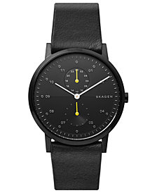 Skagen Men's Kristoffer Multifunction Black Leather Strap Watch 42mm