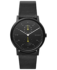 Skagen Men's Kristoffer Multifunction Black Leather Strap Watch 42mm