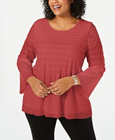6bbd1e91c9f Alfani Plus Size Smocked-Stripe Top