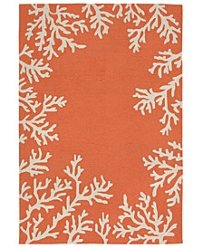 Capri 1620 Coral Border 2' x 5' Indoor/Outdoor Area Rug