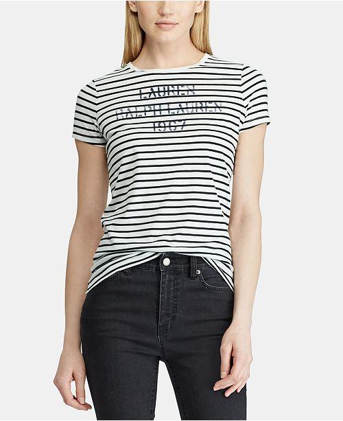 72d058af Lauren Ralph Lauren Striped Stencil-Logo T-Shirt & Reviews - Tops ...