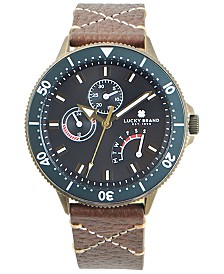 Lucky Brand Men's Dillon Brown Leather Strap Watch 42mm