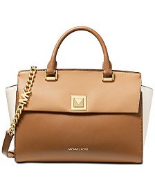 MICHAEL Michael Kors Sylvia Tricolor Crossgrain Leather Top Zip Satchel