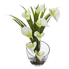 "Nearly Natural 15.5"" Calla Lily and Grass Artificial Arrangement in Vase"