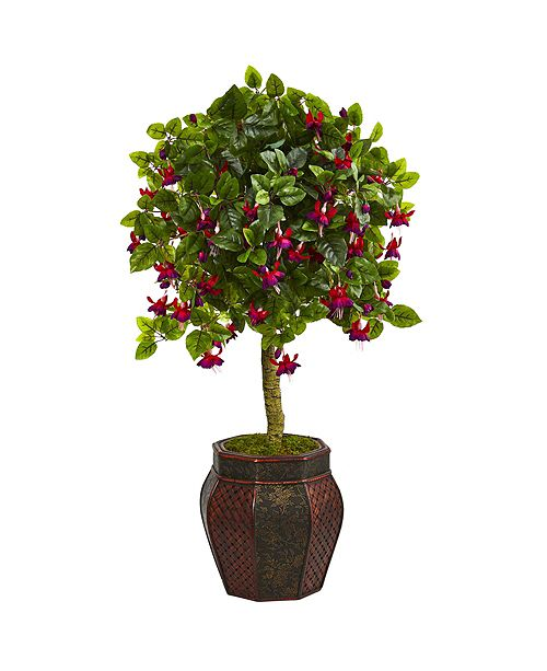 "Nearly Natural 44"" Fuschia Artificial Tree in Decorative Planter"