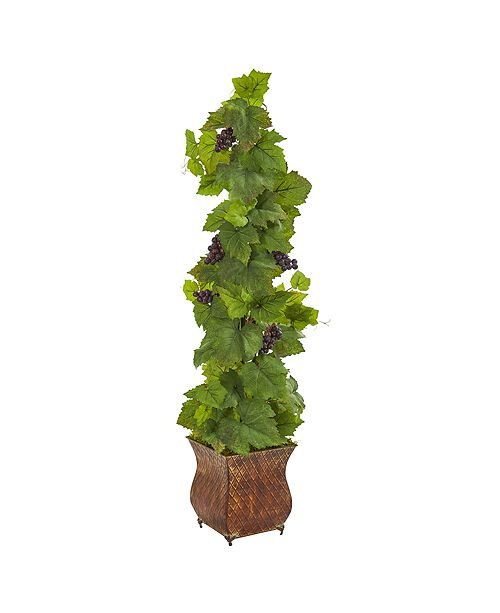 Nearly Natural 4' Grape Artificial Plant in Square Metal Planter