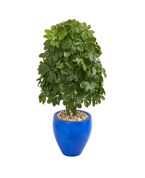 Nearly Natural 3.5' Schefflera Artificial Plant in Blue Oval Ceramic - Real Touch
