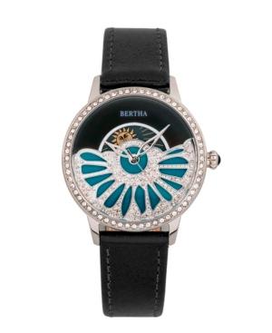 Bertha Quartz Adaline Black Genuine Leather Watch, 37mm