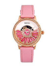 Bertha Quartz Adaline Pink Genuine Leather Watch, 37mm
