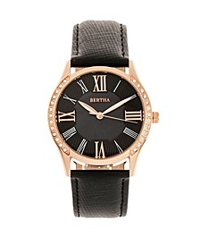 Quartz Sadie Black Genuine Leather Watch, 36mm