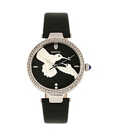 Quartz Nora Black Genuine Leather Watch, 38mm