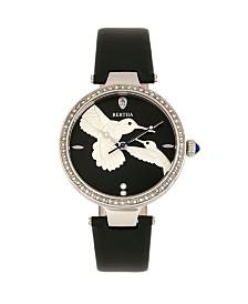 Bertha Quartz Nora Black Genuine Leather Watch, 38mm