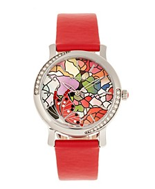 Quartz Vanessa Red Genuine Leather Watch, 36mm