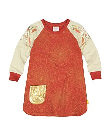 Masala Baby Girls Organic Cotton Sweatshirt Dress Golden Web Brick