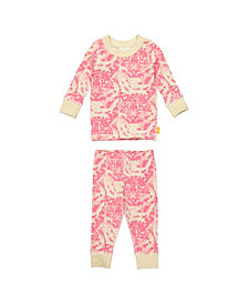 Masala Baby Girls Organic Cotton Kids Long sleeve Pajamas Cat Camo
