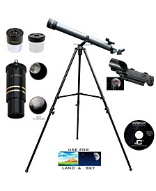 Galileo 700 X 60 Day and Night Telescope and Red Dot Finder Scope and Stellarium Cd
