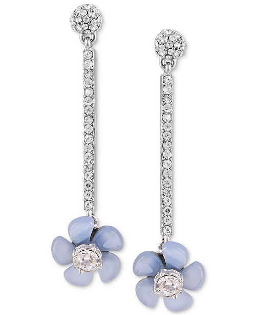 GUESS Silver-Tone Crystal & Resin Flower Linear Large Drop Earrings