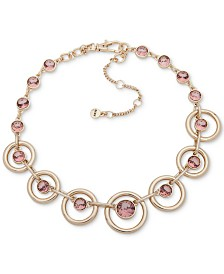 """DKNY Gold-Tone Crystal Collar Necklace, Created for Macy's , 16"""" + 3"""" extender"""