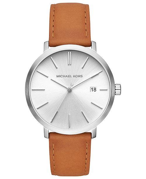 Michael Kors Men's Blake Luggage Leather Strap Watch 42mm