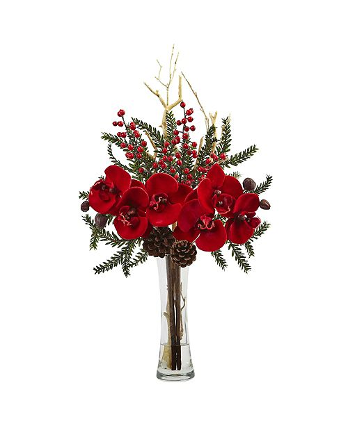 Nearly Natural Mixed Orchid Holiday Arrangement w/ Vase