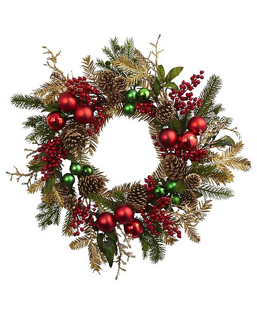 """Nearly Natural 24"""" Ornament, Pine and Pine cone Wreath"""