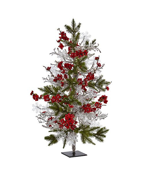 """Nearly Natural 26"""" Plum Blossom Pine Ice Twig Tree"""