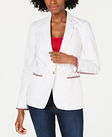 Tommy Hilfiger Printed Stripe-Trim Blazer, Created for Macy's