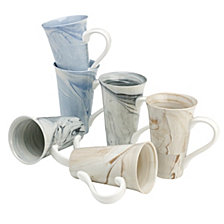 Assorted Color Marble Latte Mugs, Set Of 6