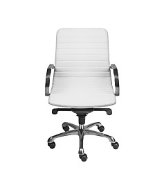 Everette Low Back Office Chair with Polished Aluminum Base