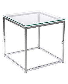 Sandor Square Side Table with Tempered Glass Top and Chrome Frame