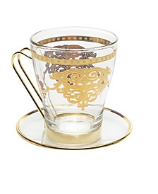 Set of 6 Tea Sets with Rich Gold Design