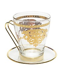 Classic Touch Set of 6 Tea Sets with Rich Gold Design
