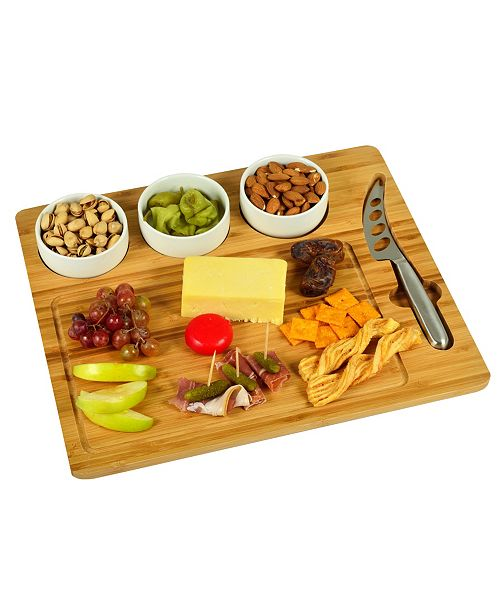 Picnic At Ascot Bamboo Cheese Board with 3 Bowls and Multi Function Knife
