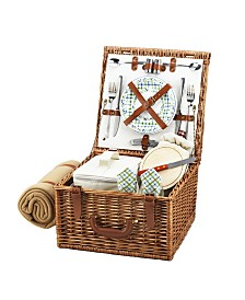 Picnic at Ascot Cheshire English-Style Willow Picnic Basket for 4 with Blanket