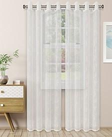 """Lightweight Scroll Sheer Curtain Panels, (2), 52"""" x 108"""""""