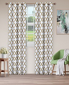 "Soft Quality Woven, Bohemian Trellis Blackout Thermal Grommet Curtain Panel Pair, Set of 2, 52"" x 63"""