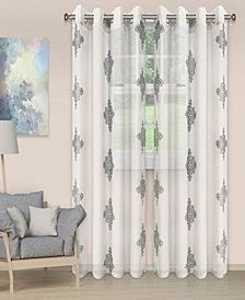 "Superior Lightweight Damask Sheer Curtain Panels, Set of 2, 52"" x 84"""