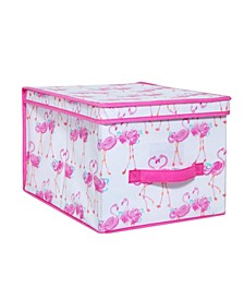 Kids Large Collapsible Storage Box in Pretty Flamingo