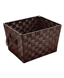 Simplify Small Woven Storage Bin in Chocolate