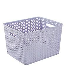 LargeHerringbone Storage Bin in Lilac