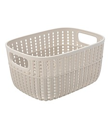 2-Tone Decorative Small Storage Basket in Ivory
