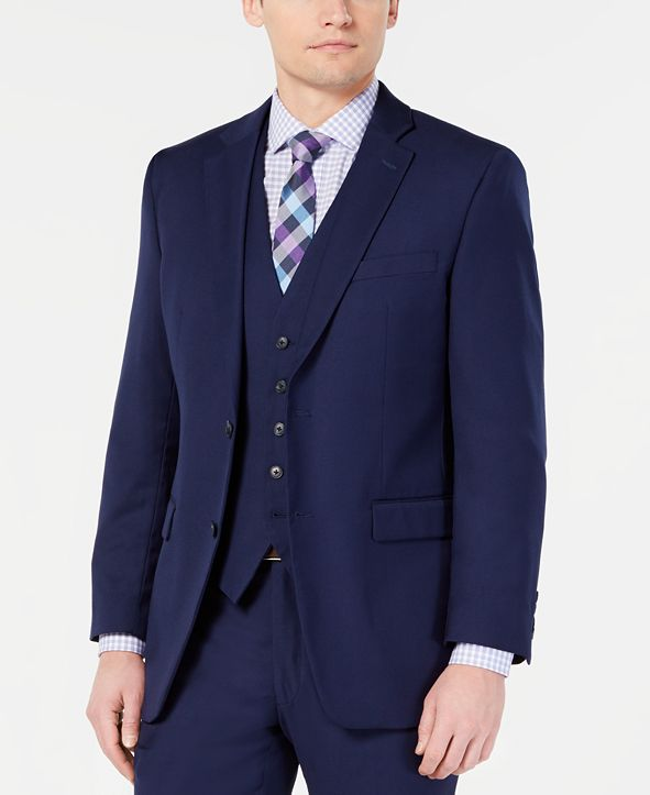 Perry Ellis Men's Portfolio Slim-Fit Stretch Navy Solid Suit Jacket