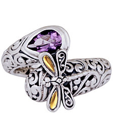 Sweet Dragonfly Classic Sterling Silver Ring embellished by 18K Gold Accents on 4 strips of Dragonfly's Wings and Amethyst