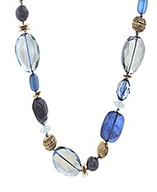 Women's Blue Beaded Yellow Gold-Tone Chain Necklace