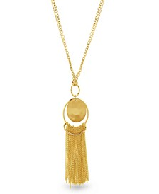 Women's Round Hammered Disc Tassel Yellow Gold-Tone Chain Necklace