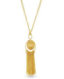 Catherine Malandrino Women's Round Hammered Disc Tassel Yellow Gold-Tone Chain Necklace