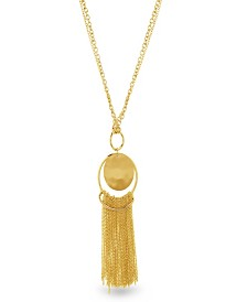 Catherine Malandrino Women's Round Hammered Disc Tassel Yellow Gold-Tone Chain Necklace
